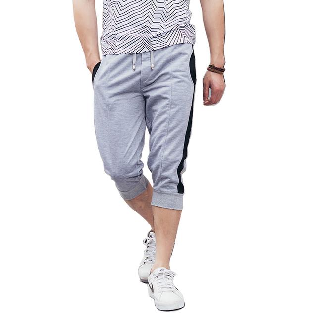 2016 novo bezerro comprimento calças ocasionais dos homens de poliéster trem verão calça fina Harem Pants preto cinza calças moda Cordão