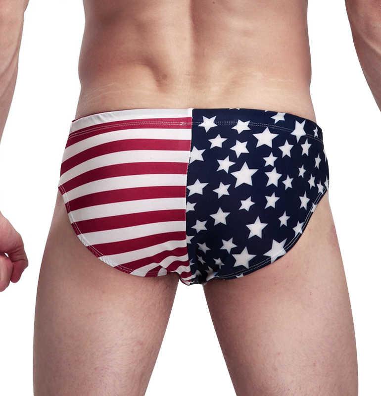 2019 lato nowa flaga ameryki mężczyzna strój kąpielowy bikini męskie kąpielówki męskie majtki plażowe Sexy krótkie figi kąpielowe