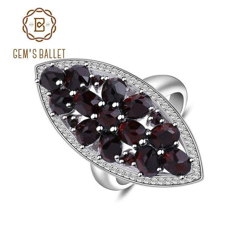 Gem's Ballet 6.3Ct Natural Black Garnet Gemstone Wedding Engagement Ring 925 Sterling Silver Fine Jewelry For Women