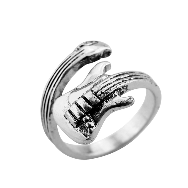 Rock Guitar Ancient Silver Plating Ring Fashion jewelry to open the adjustable S