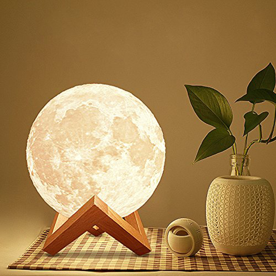 Xsky 3D Print Moon Lamp Rechargeable USB Night Light Touch Switch Table Lamps Romantic Creative Gifts Bedroom Decorative Lights