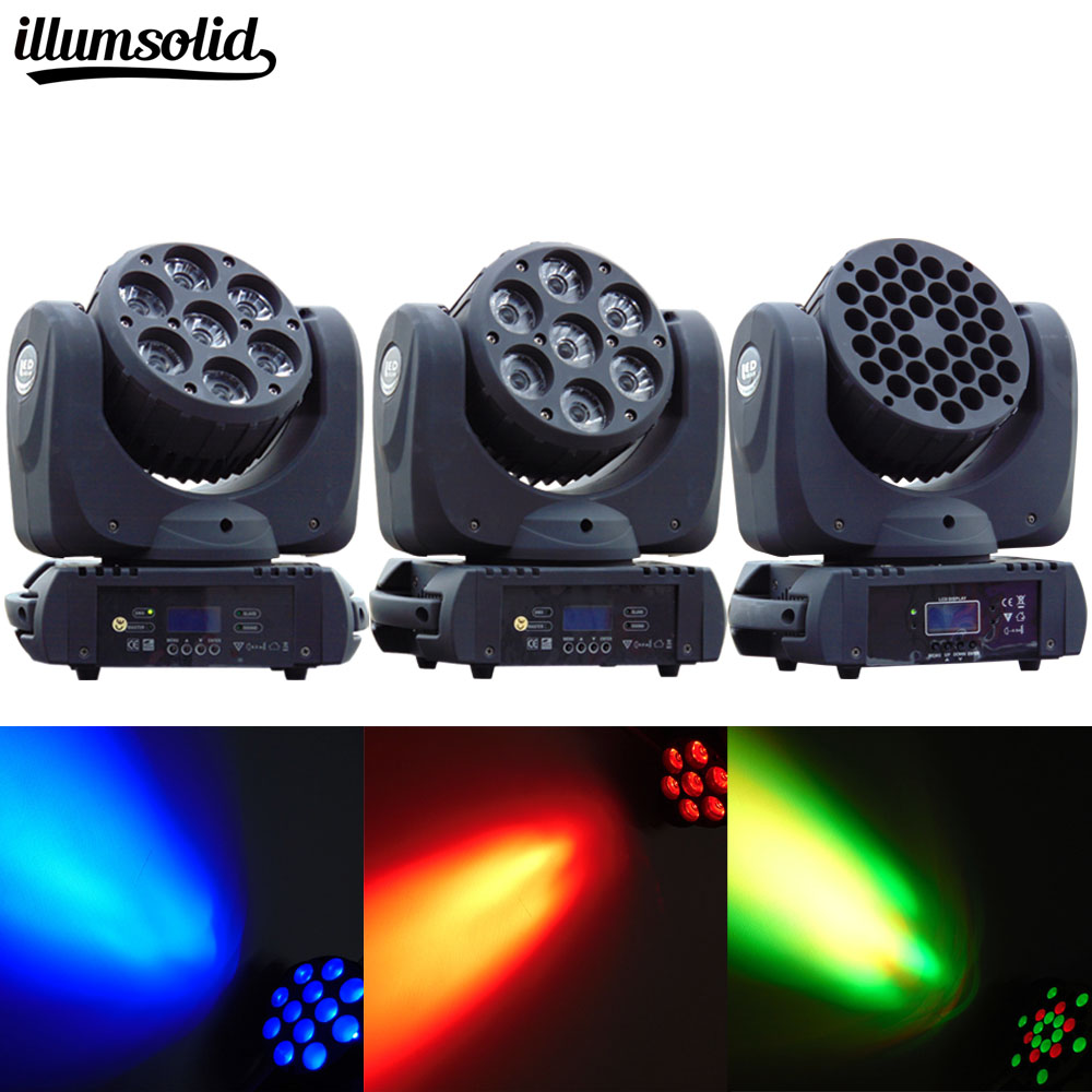 Washlight Moving Head With An Incredible 7X12 Watt, 12X12 Watt And 36X3 Watt LED RGBW Power An DMX Control With 16 Channels
