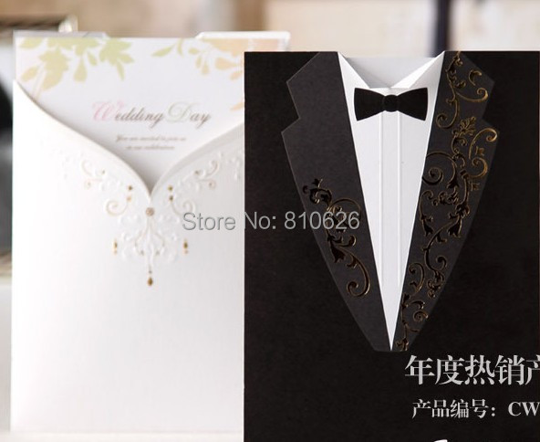 25pcs Free Shipping Wedding Dress Tuxedo The Bride And Groom Invitation Card With Blank
