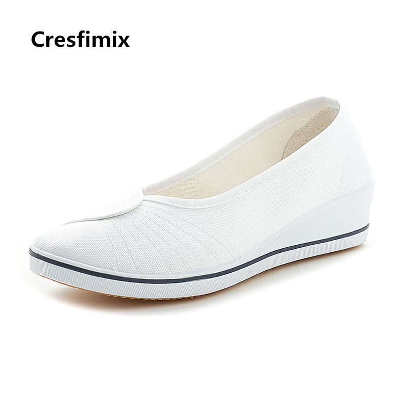 Cresfimix women fashion plus size white nurse flat shoes lady cute spring & summer slip on flats female cool comfortable shoes forudesigns women casual sneaker cartoon cute nurse printed flats fashion women s summer comfortable breathable girls flat shoes