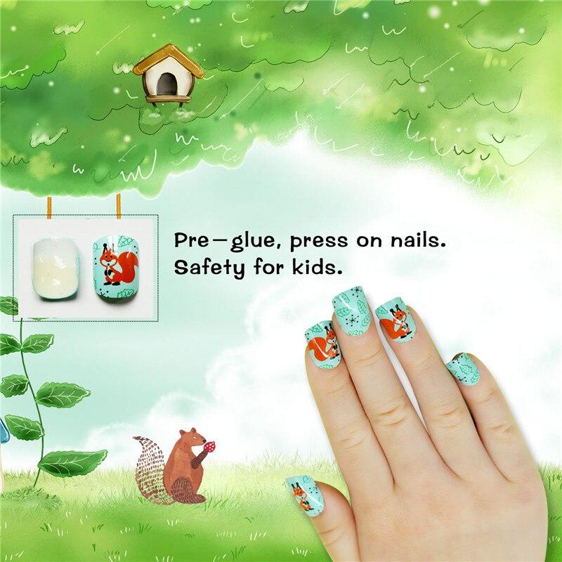 Ardilla historieta niñas falso uñas completa 24 piezas Prensa en clavos falsos consejos con diseño para las niñas en Uñas postizas de Belleza y ...