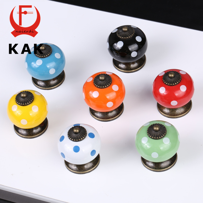 KAK 10PCS Ceramic Drawer Knobs Polka Dot Cabinet Cupboard Handles Simple Design Knobs Single Hole Handles Furniture Hardware