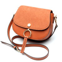 Simple Classic Style Crossbody Bags High Quality Matte Cow Split Leather Women Shoulder Bag Ring Design