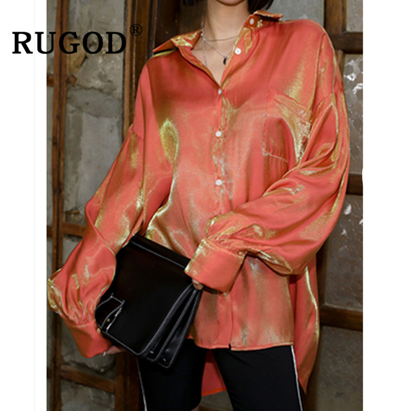 RUGOD Vintage Gradient   blouse   women Elegant glossy long sleeve orange   shirts   ladies korean chic turn-down collar   blouse   and tops