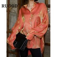 RUGOD Vintage de las mujeres blusa elegante brillante manga larga orange camisas coreano chic collar blusa y tops