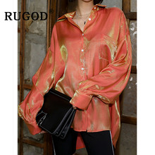 RUGOD Vintage gradientowa bluzka damska elegancka błyszcząca z długim rękawem pomarańczowe koszule damskie w koreańskim stylu szykowny skręcić w dół kołnierz bluzka i topy tanie tanio Kobiety Poliester REGULAR Pani urząd Suknem Pełna Przycisk Stałe QZ1000 orange Uniform code 2019 Korean Edition floodlight blouse 2019