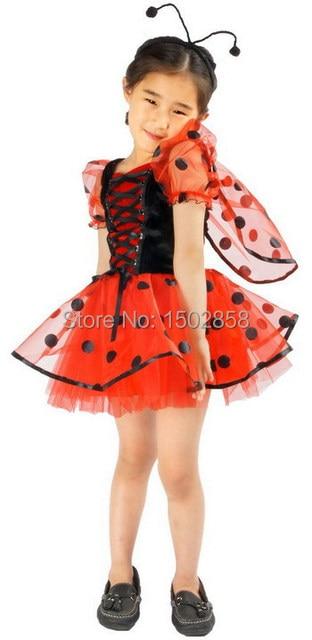 Muchacha al por menor trajes mariquita insectos cosplay del partido vestido de los cabritos 2t-9 niños cosplay ejecutante ropa animal carnaval del partido del vestido