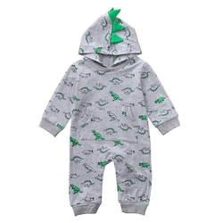 Мода новорожденных Для маленьких мальчиков и девочек с капюшоном принтом динозавра Ползунки хлопок Нарядный комбинезон осень зима