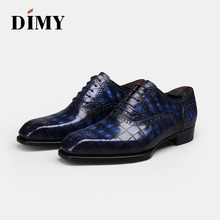 DIMY 2019 Goodyear custom hand-painted crocodile leather mens dress Oxford shoes business British wind