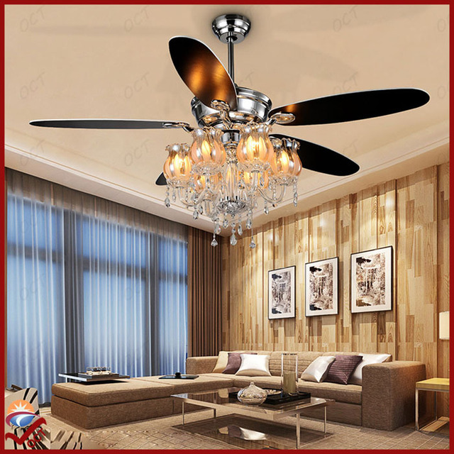 85 265v Luxury Led Ceiling Fan Crystal Pendant Nordic Ikea Modern 56
