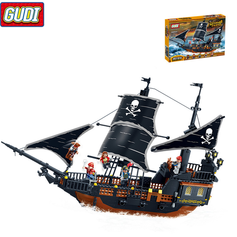GUDI Pirates Ship 652pcs Bricks Black Pearl Building Blocks Sets Christmas Gifts Toys For Children kazi 608pcs pirates armada flagship building blocks brinquedos caribbean warship sets the black pearl compatible with bricks