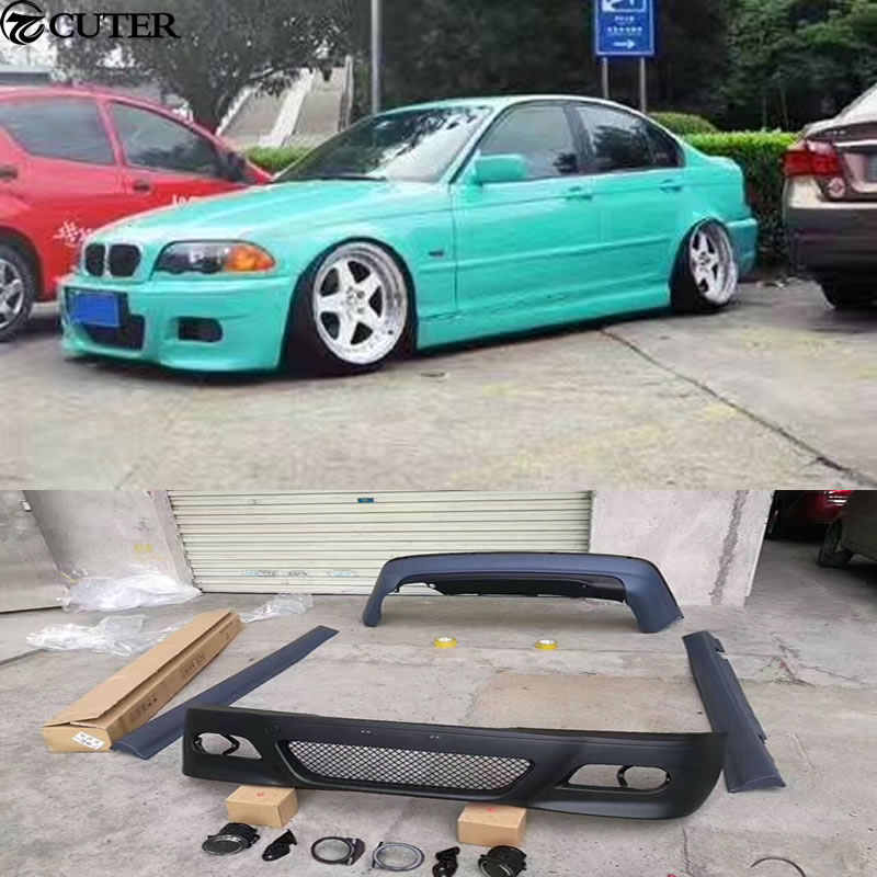 E46 325i M3 Style Car Body Kit Pp Unpainted Front Rear Bumper Side Skirts For Bmw E46 M3 98 04