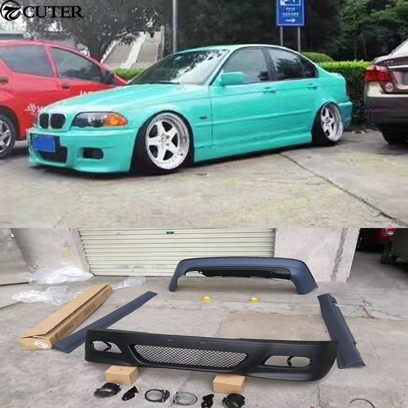 E46 325i M3 Style Car Body Kit Pp Unpainted Front Rear Bumper Side