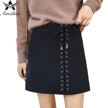 Amzline saia Lace Up Soft Suede High Waist Pencil Skirt Winter 2017 Side Cross Bandage Slim Bodycon Vintage Short Skirts Womens