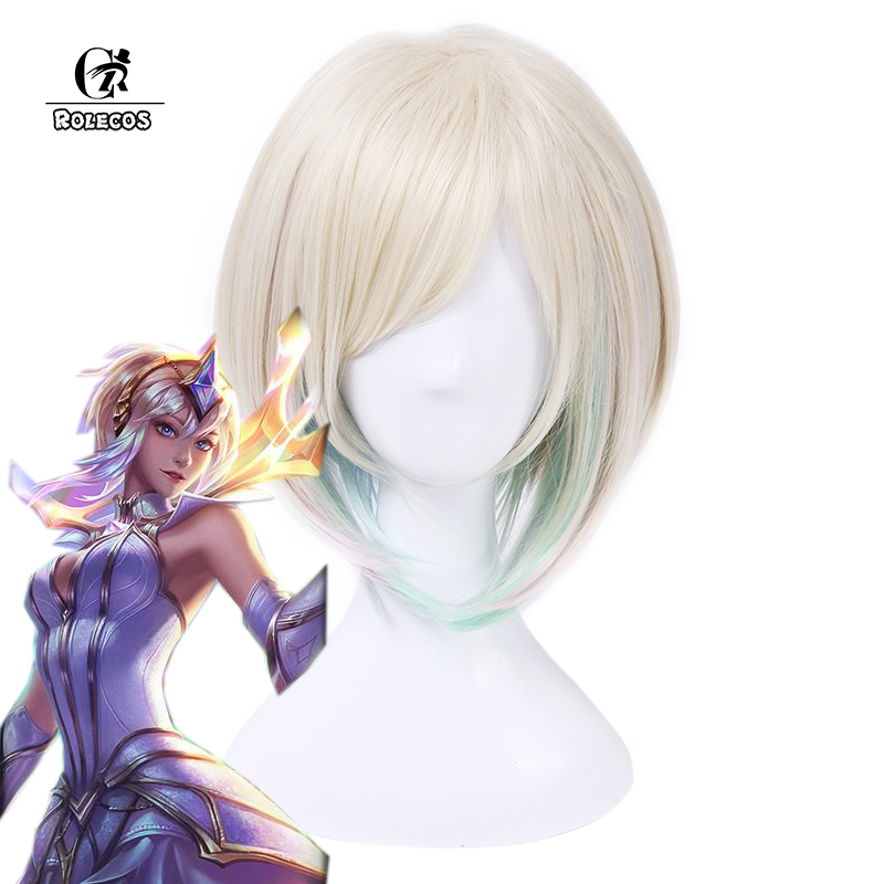 ROLECOS Game Character LOL Cosplay   Headwear   Luxanna Crownguard Cosplay 30cm/11.82inches Short White Mixed Cosplay Synthetic Hair