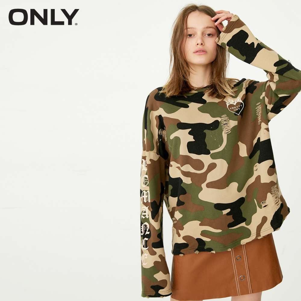 ONLY  Camouflage letter pattern ripped loose trendy fleece female |11749S520