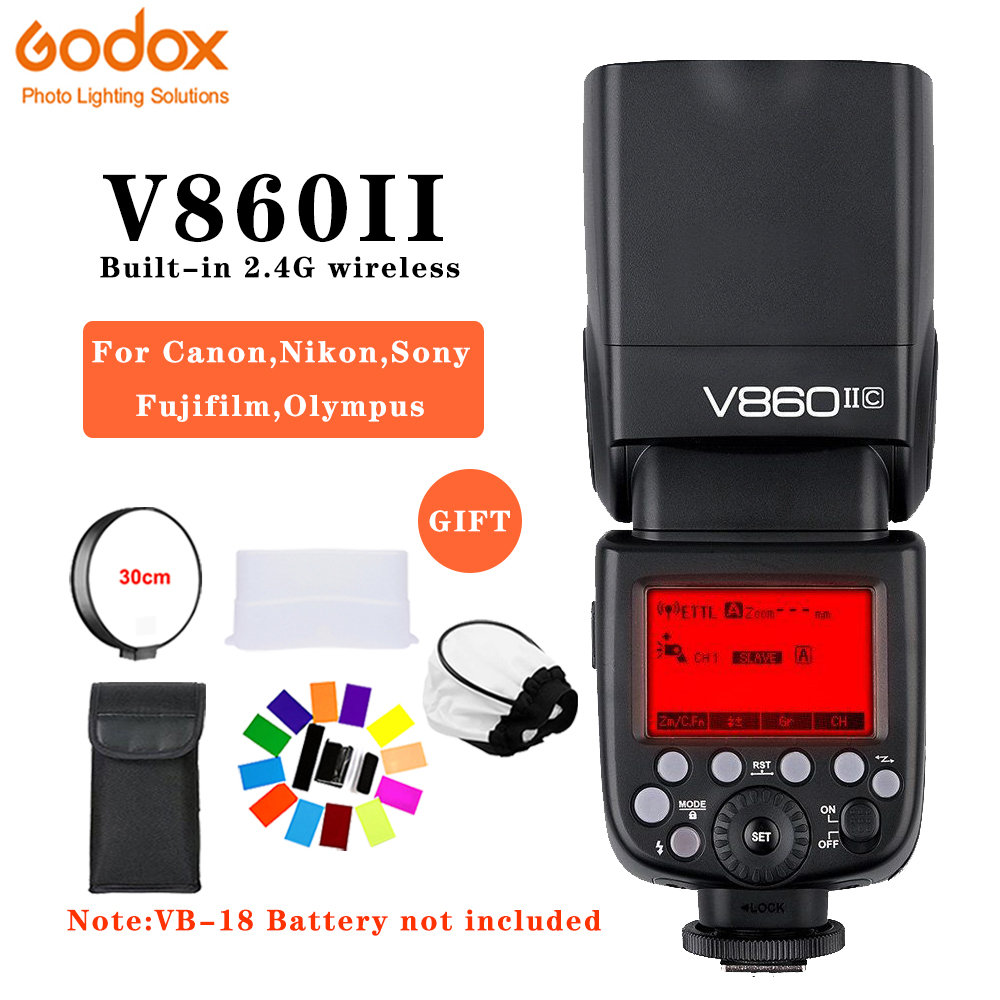 Godox V860II-C/N/S/F/O GN60 2.4G TTL HSS 1/8000 Without VB18 Battery Camera Speedlite Flash for Canon Nikon Sony Fuji OlympusGodox V860II-C/N/S/F/O GN60 2.4G TTL HSS 1/8000 Without VB18 Battery Camera Speedlite Flash for Canon Nikon Sony Fuji Olympus