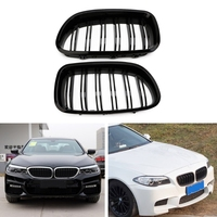 New 1 Pair Auto Car Gloss Black Kidney Grill Racing Grille Dual Line For BMW F10 F11 F18 5 Series M5 High Quality