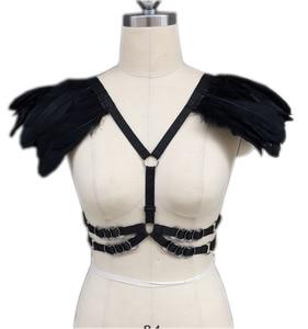 Image 3 - Женский бюстгальтер с перьями, открытый бюстгальтер с перьями, экзотическое нижнее белье, топы с перьями, O0233