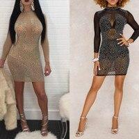 Mode Frauen Sexy Kleid Damen Mantel Abendkleid Clubwear Spitze Langarm Minikleid S M L XL XXL