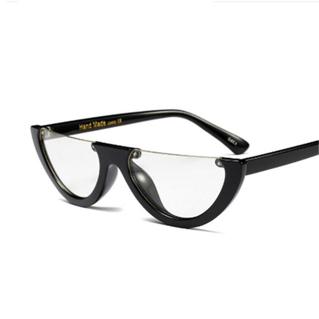 Unique Half Frame Women Cat Eye Sunglasses Brand Designer Fashion Ladies Pink Tint/Clear Lens Shades Sun Glasses 4