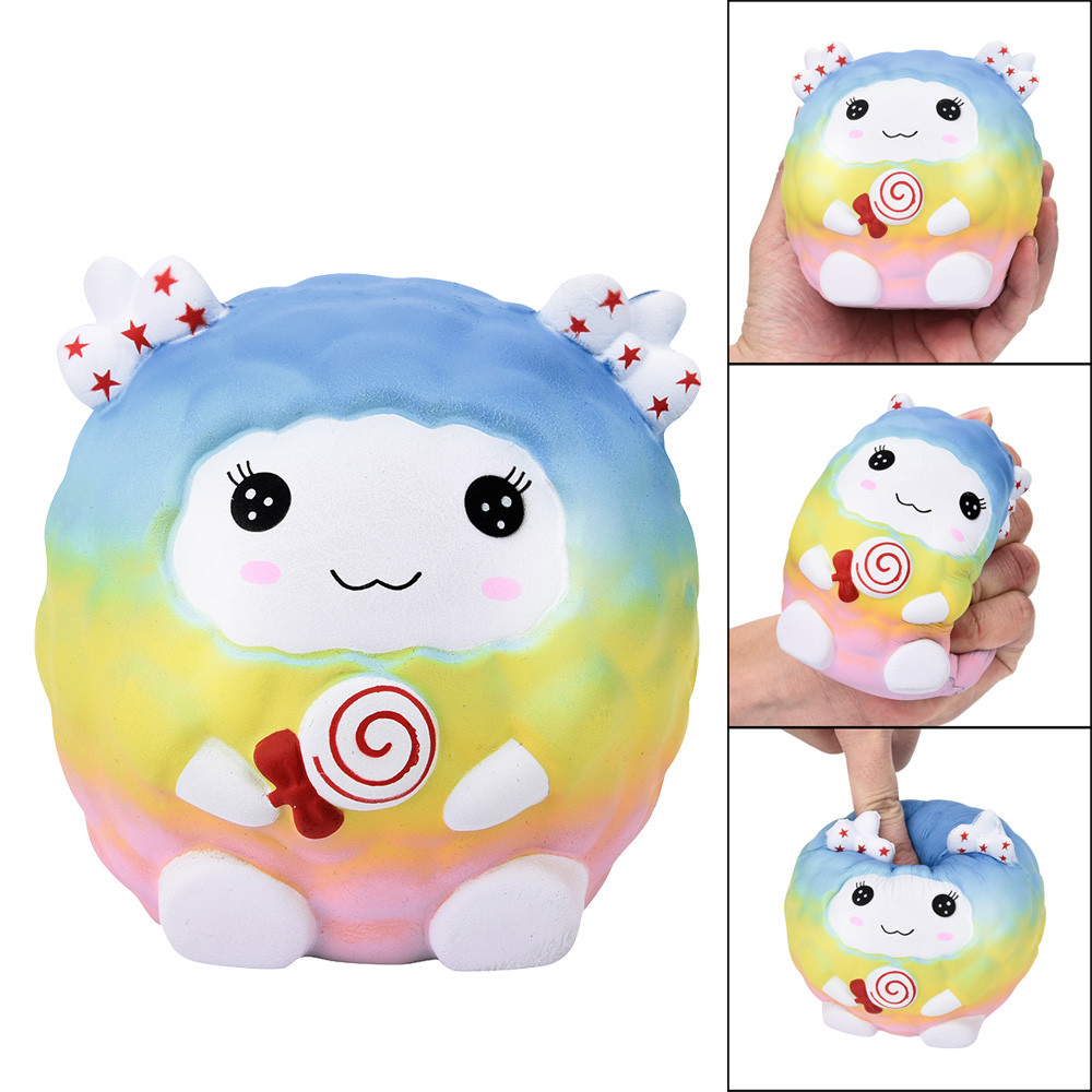 Squishy Easter Rainbow Sheep Scented Slow Rising Squeeze Collect Easter Gift Animal Hand Bells Newbron Animal Cute Baby