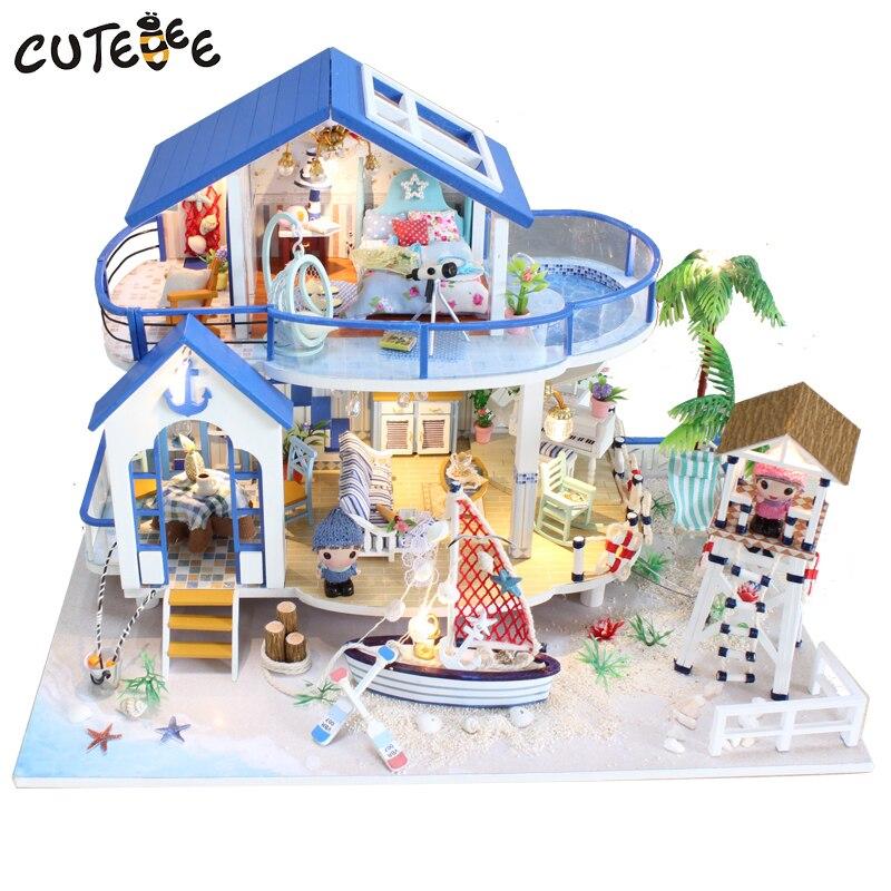 CUTEBEE кукольный дом Миниатюрный DIY кукольный домик с мебелью деревянный дом Countryard Dweling игрушки для детей подарок на день рождения 13844
