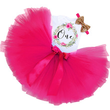 Tutu Girls Dress 1st First Birthday Party Infant Dress 1 Year Baby Girl Baptism Clothes Christening Tutu Dress 3Pcs Suit