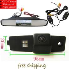 Беспроводной цветной пзс заднего вида камеры для Toyota Highlander Kluger Lexus RX300 + 4.3 дюймов зеркало заднего вида монитор