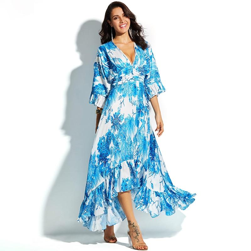 23385d37fead 2018 Maxi φόρεμα γυναικών βαθιά V neck μπλε casual μακρά φορέματα ...