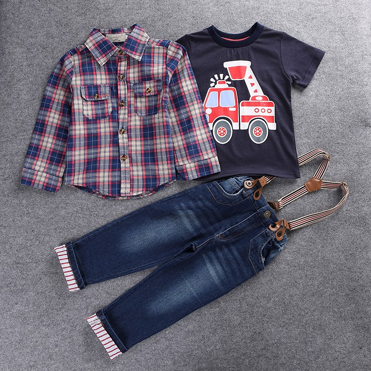 2018 Children's clothing sets for spring Baby boy suit Long sleeve plaid shirts+car printing t-shirt+jeans 3pcs suit kids set 1