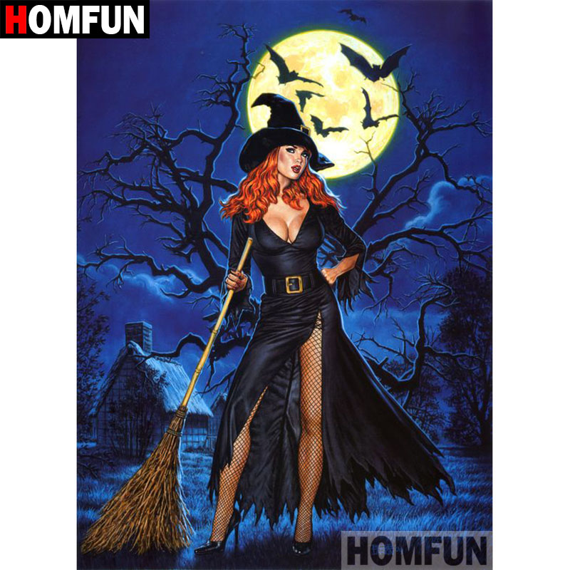 HOMFUN 5D DIY Diamond Painting Full Square Round Drill quot Halloween witch quot Embroidery Cross Stitch gift Home Decor Gift A09218 in Diamond Painting Cross Stitch from Home amp Garden