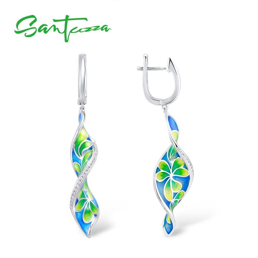 SANTUZZA Silver Earrings For Women Pure 925 Sterling Silver Long Colorful Flower Drop Earrings Fine Jewelry HANDMADE Enamel