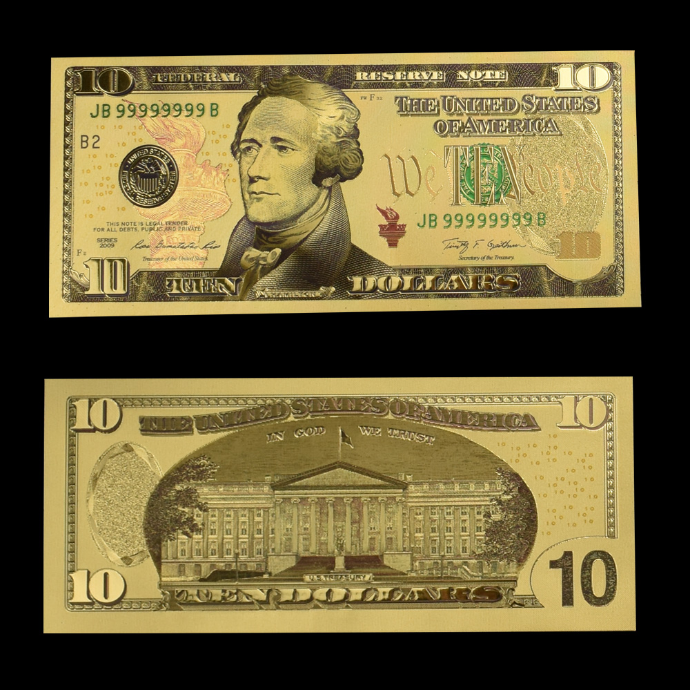 USD Gold Foil Banknote with Showing Stand 100 50 20 10 5 2 1 Dollar Fake Money For Collection in Gold Banknotes from Home Garden