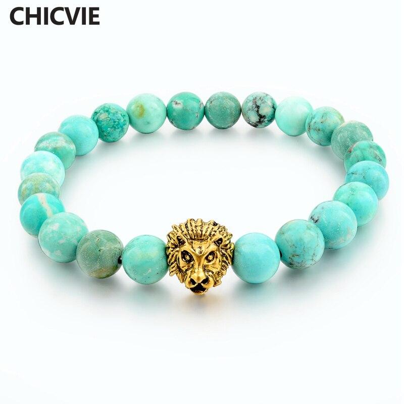 green natural stone gold color lion strand bracelet femme. Black Bedroom Furniture Sets. Home Design Ideas