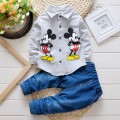 BibiCola baby boys spring clothes kids cartoon pattern sport t shirt+pants 2pcs causal suit children jeans clothing set