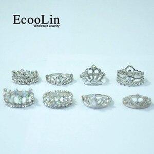 Image 5 - 50 Pcs EcooLin เครื่องประดับแฟชั่น Zircon มงกุฎแหวนเงินจำนวนมากสำหรับผู้หญิงจำนวนมากแพ็ค LR4024
