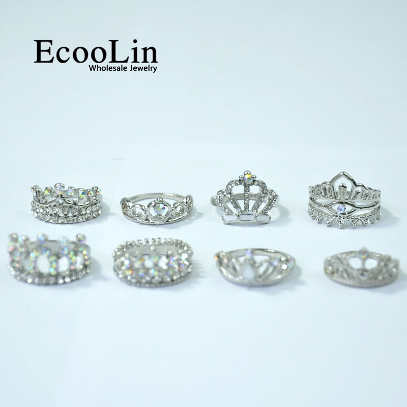 Image 5 - 50Pcs EcooLin Jewelry Fashion Zircon Shiny Crown Silver Plated Rings Lots For Women Bulk Packs LR4024-in Rings from Jewelry & Accessories
