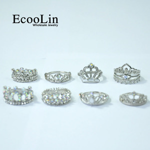 Image 5 - 50Pcs EcooLin Jewelry Fashion Zircon Shiny Crown Silver Plated Rings Lots For Women Bulk Packs LR4024
