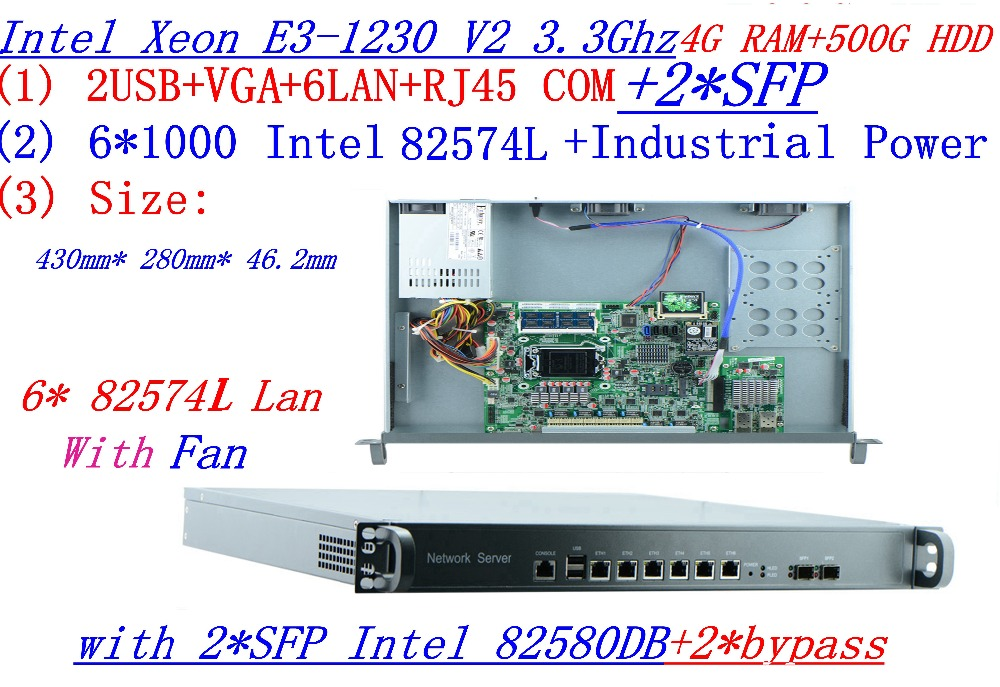 Powerful 1U Firewall Quad Core Xeon E3-1230 V2 3.3Ghz with 8 Ports 6*1000M 82574L Gigabit Nics 2* intel i350 SFP 4G RAM 500G HDD