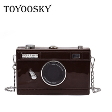TOYOOSKY Personality Bag Women Messenger Bags Camera Casual PU Leather Clutch Chain Handbag Crossbody Shoulder Bags Bolsa lacquer geometric women handbag baobao pu leather shoulder crossbody chain bags messenger bag clutch ladies purse bolsa feminina