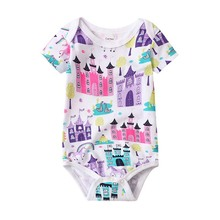 Newborn Bodysuits Baby Girl Clothes Summer Short Sleeve Cute Cartoon Pink Print Infant Clothing