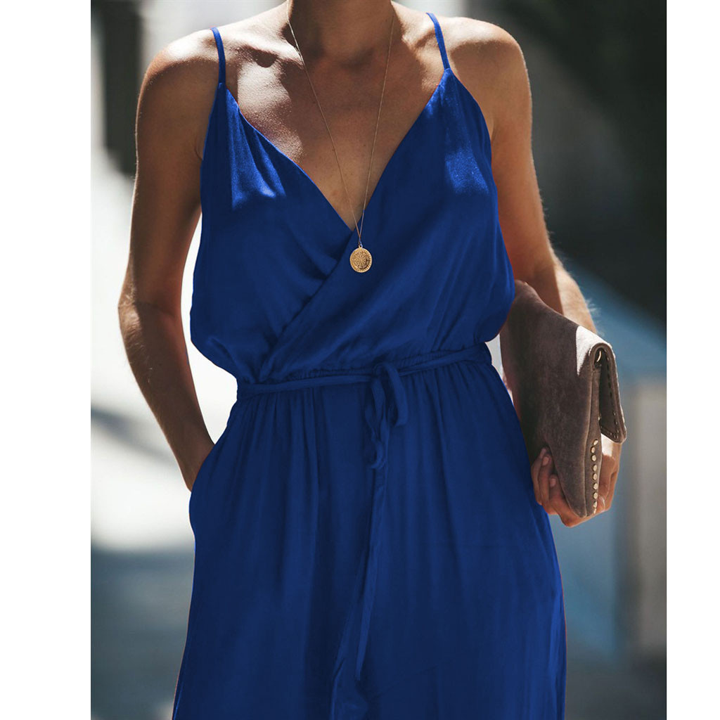 Women Summer Fashion Casual Elegant Skilled Pocket Off Shoulder V Neck Sleeveless Rompers Jumpsuit Playsuit Salopette Femme 50