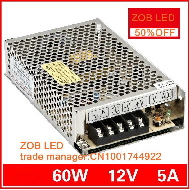 60W 5A 12V LED Switching Power Supply,For LED Strip light,85-265AC input, power suply 12V  Output in stocks--2PCS/LOT 1200w 48v adjustable 220v input single output switching power supply for led strip light ac to dc
