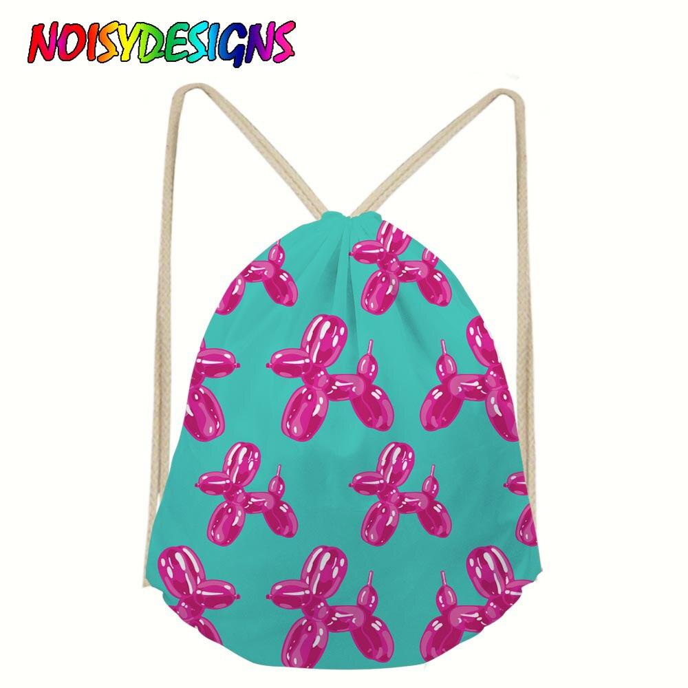 NOISYDESIGNS School Bags Balloon Dogs Print School Backpack For Girls Boys Backpacks Children Book Bag Drawstring Bag Female
