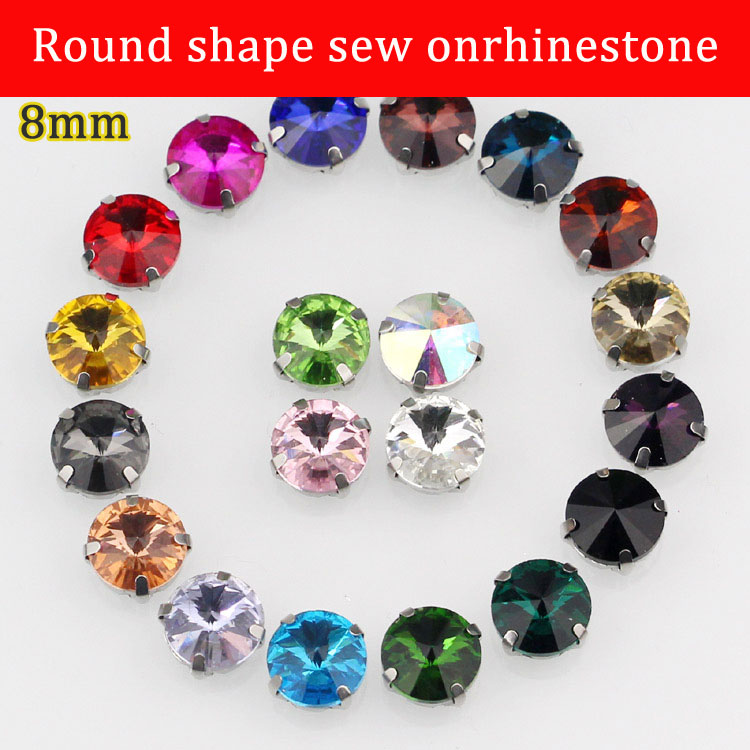 Free shipping 8mm 20pcs/pack, round shape crystal glass sew on rhinestones diy clothing accessories
